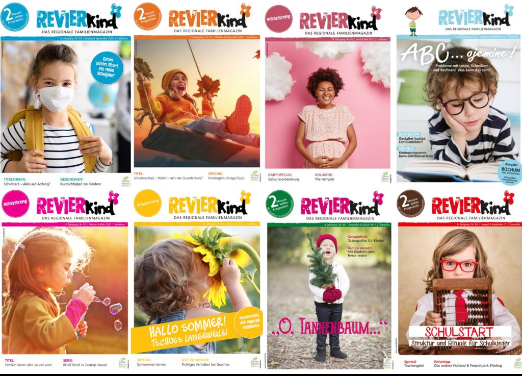 Collage der REVIERkind-Ausgaben