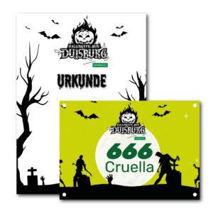 Halloween Run Duisburg: Urkunde und Startnummer